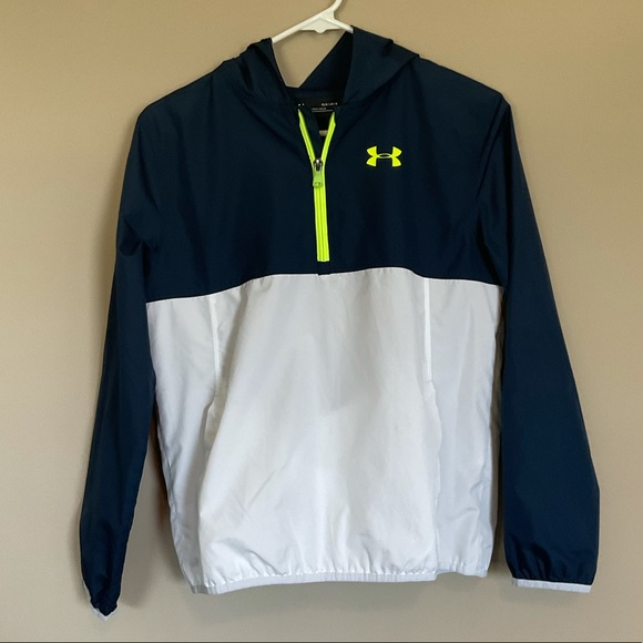 Boy's Blue and White Under Armour Jacket/Backpack